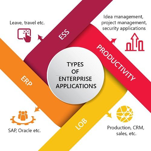 ESS: leave, travel, etc. Productivity: idea management, project management, security applications, LOB: production, CRM, sales, etc. ERP: SAP, Oracle, etc.